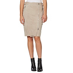 Todd Lynn/EDITION - Designer taupe suede front zip skirt