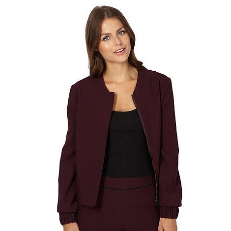 null - Designer wine soft bomber jacket