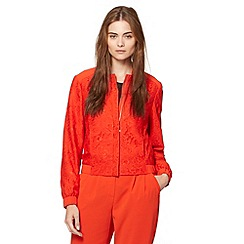 Preen/EDITION - Designer dark orange lace bomber jacket