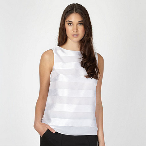 Jonathan Saunders/EDITION - Designer white devore striped shell top
