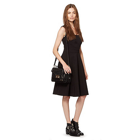 preen-edition - Designer black square neck fit and flare dress