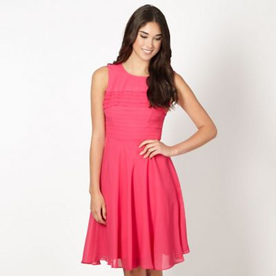 Designer pink pleated front dress