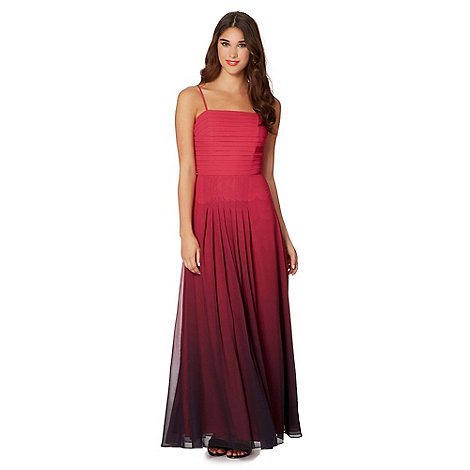 null - Designer dark pink scalloped ombre maxi dress