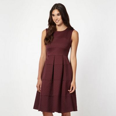 Designer wine jacquard fit and flare dress