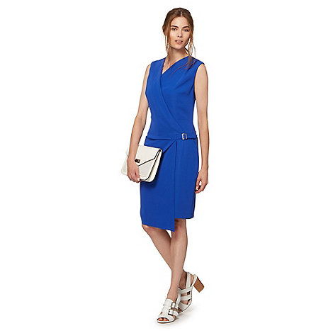 Preen/EDITION - Designer bright blue buckle wrap dress