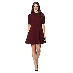 Jonathan Saunders/EDITION - Designer wine roll collar fit and flare dress