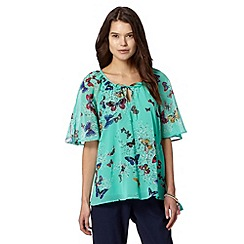 Butterfly by Matthew Williamson - Designer aqua vintage butterfly top