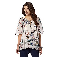 Butterfly by Matthew Williamson - Designer off white butterfly vintaged inspired top