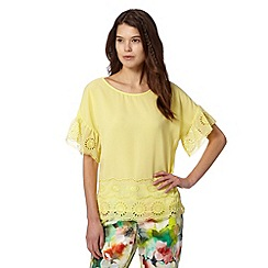 Butterfly by Matthew Williamson - Designer bright yellow floral cut out top