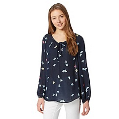Preen/EDITION - Designer navy ditsy floral smock top