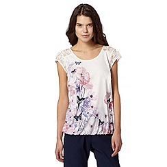 Butterfly by Matthew Williamson - Designer ivory lace shoulder floral top