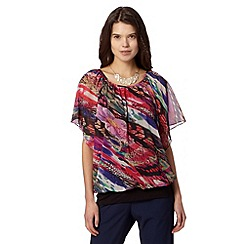 Butterfly by Matthew Williamson - Designer pink blurred butterfly print top