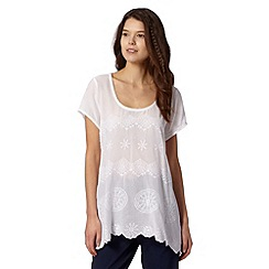 Butterfly by Matthew Williamson - Designer white geometric embroidered hanky hem top