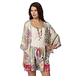 Butterfly by Matthew Williamson - Designer green parrot tassel kimono