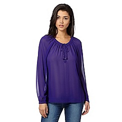 Preen/EDITION - Designer purple tassel lightweight blouse