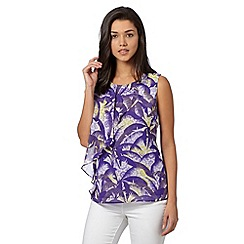 Preen/EDITION - Designer purple palm tree print layered frill top