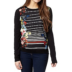 Preen/EDITION - Designer black striped floral jumper
