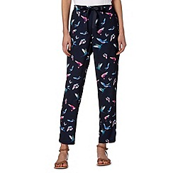 Butterfly by Matthew Williamson - Designer navy hummingbird print trousers