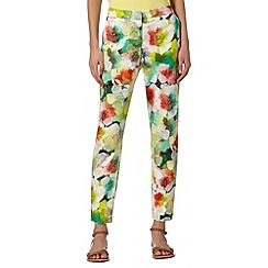 Butterfly by Matthew Williamson - Designer green peony print trousers