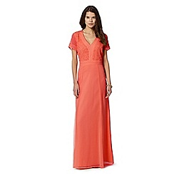 Butterfly by Matthew Williamson - Designer light orange beaded bodice maxi dress