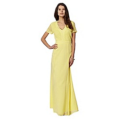 Butterfly by Matthew Williamson - Designer yellow beaded bodice maxi dress