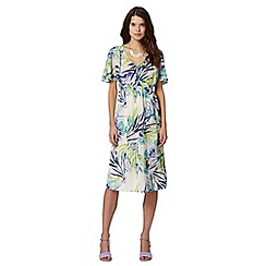 Butterfly by Matthew Williamson - Designer off white palm print cape dress