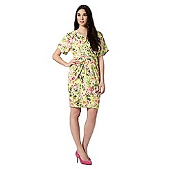 Preen/EDITION - Designer lime floral wrap front dress