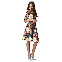 Preen/EDITION - Designer orange digital floral flared dress