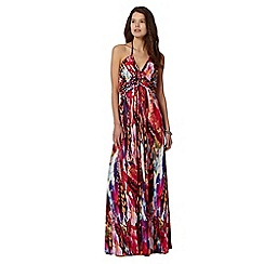 Butterfly by Matthew Williamson - Designer pink blurred butterfly print maxi dress