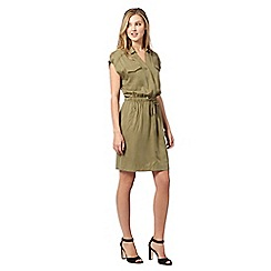 Preen/EDITION - Designer khaki relaxed shirt dress