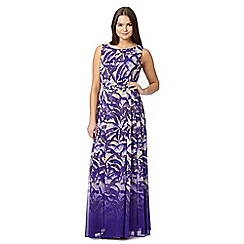 Preen/EDITION - Designer purple palm print ombre maxi dress