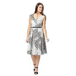 Designer white monochrome mosaic print dress