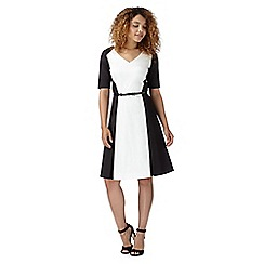 Preen/EDITION - Designer ivory monochrome fit and flare dress