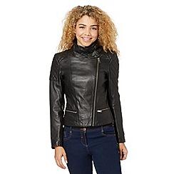 Todd Lynn/EDITION - Designer black leather buckled funnel neck jacket