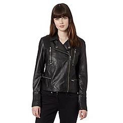 Todd Lynn/EDITION - Designer black leather quilted shoulder jacket
