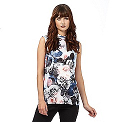 Giles/EDITION - Light blue rose print shell top