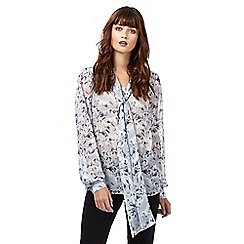 Giles/EDITION - Grey horse print pussy-bow blouse