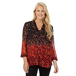 Preen/EDITION - Black three quarter length sleeve pansy blouse