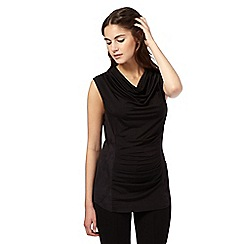 Todd Lynn/EDITION - Black suedette panel draped top