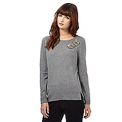 Giles/EDITION - Grey cashmere-blend embellished jumper