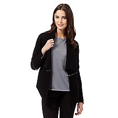 Todd Lynn/EDITION - Black PU insert wool-blend ribbed cardigan