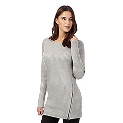 Todd Lynn/EDITION - Pale grey long chunky knit zip tunic