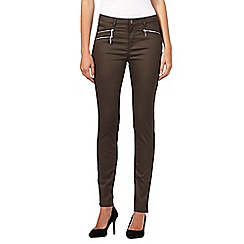 Preen/EDITION - Designer khaki wet look jeans