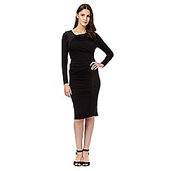 Todd Lynn/EDITION - Black suedette panel draped dress