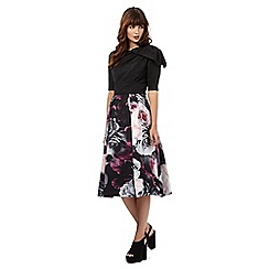 Giles/EDITION - Black and rose print bow detail dress