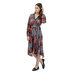 Preen/EDITION - Red floral check wrap dress