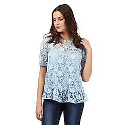 Giles/EDITION - Pale blue floral lace peplum top