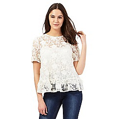 Giles/EDITION - Ivory floral lace peplum top