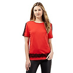 Preen/EDITION - Red lace shoulder sweater