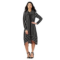 Preen/EDITION - Black striped print shirt dress